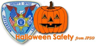 Halloween Safety Logo with a jack-o'-lantern and Sheriff's Office patch.