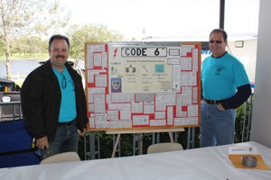 "Two men standing next to a display ""Code 6."""
